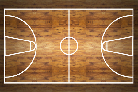 Aerial view of a hardwood basketball court