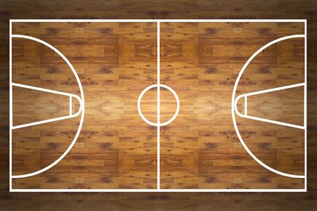 Vue aérienne d'un terrain de basket de bois franc Banque d'images - 45060962