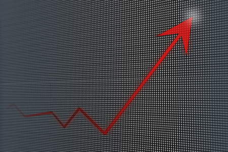 led screen: Financial and business graphs, Finance concept on led screen Stock Photo