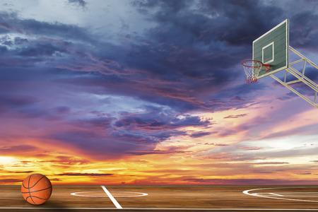 Basketball ball on outdoor basketball court Standard-Bild