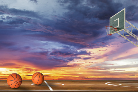 outdoor basketball court: Basketball ball on outdoor basketball court Stock Photo