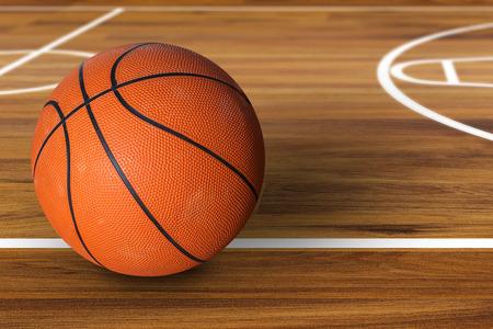 Balle de basket-ball sur un terrain de basket de bois franc Banque d'images - 45064813