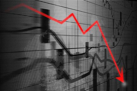 Recession arrow, Graph showing business decline  on led screen Banque d'images
