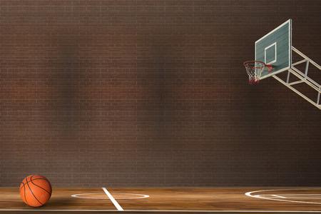 Basketball ball over hardwood basketball court