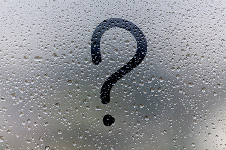 the inscription on glass, question mark concept