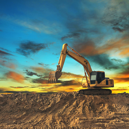 job site: Excavator Stock Photo