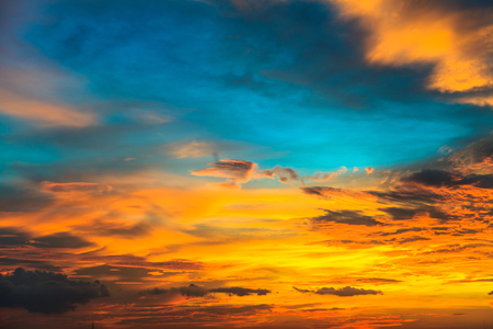 city of sunrise: Beauty sunset with blue and orange clouds