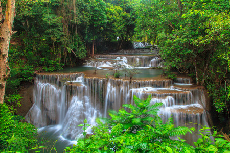 cascade: Deep Forest Waterfall in tropical Thailand Stock Photo