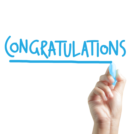 Hand written congratulations Standard-Bild