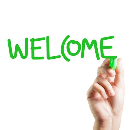 the welcome: Mano de bienvenida escrito