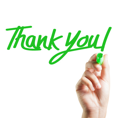 written: Hand written thank you Stock Photo
