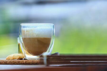 Glas Milchkaffee Kaffee Standard-Bild