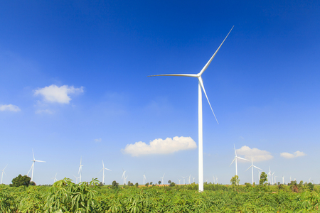 electric generating plant: Wind turbine renewable energy source summer landscape with blue sky