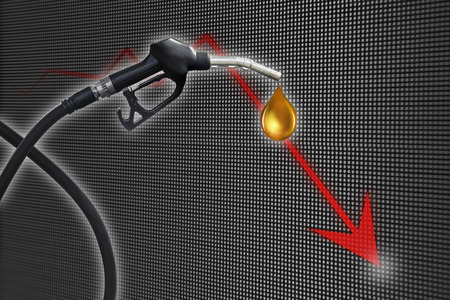 natural gas prices: Gasoline Fuel Nozzle giving a oil drop with business and financial graph Stock Photo