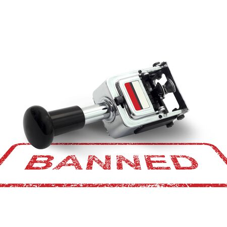 enhancing: Rubber Stamp BANNED concept on a white background Stock Photo