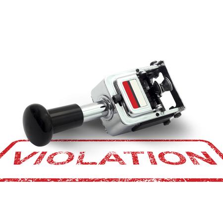 violation: Sello de goma concepto VIOLACIÓn sobre un fondo blanco Foto de archivo