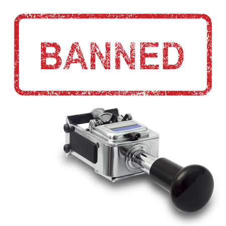 banned: Rubber Stamp BANNED concept on a white background Stock Photo