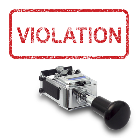 criminal act: Rubber Stamp VIOLATION concept on a white background