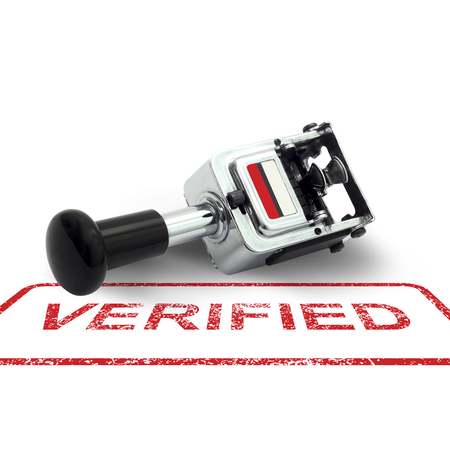 verified stamp: Rubber Stamp VERIFIED concept on a white background Stock Photo