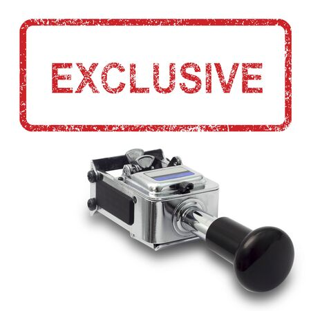 exclusive: Rubber Stamp EXCLUSIVE concept on a white background Stock Photo