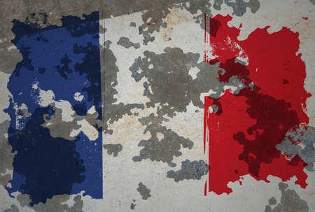 french flag: French, grunge flag
