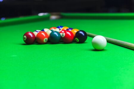 billiard: Billiard balls on table