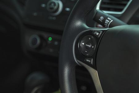 prestige: Cropped view of car inside driver place, Interior of prestige modern car, steering wheel