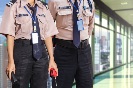 vigilante: Security guard on modern office building