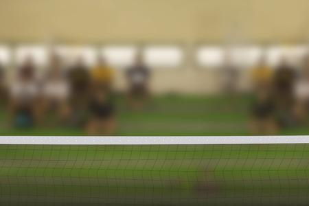 indoor background: Empty volleyball court Stock Photo