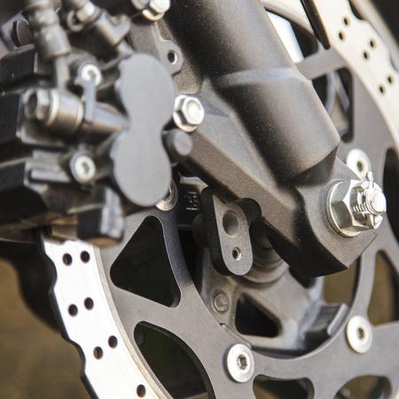 frenos: Rueda de la motocicleta con frenos ABS Foto de archivo