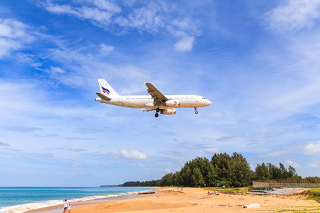airway: PHUKET, THAILAND - December 2015 : Bangkok airway airplane Landing at Phuket International airport in sunny day on December 25, 2015 in Phuket, Thailand.