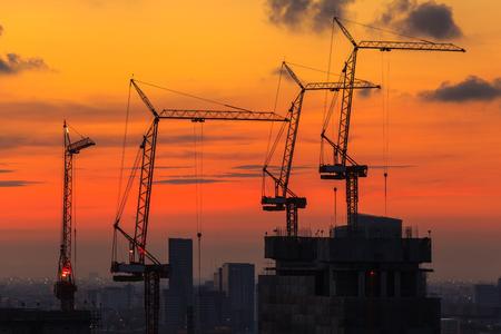 city of sunrise: Construction sites in Bangkok, Thailand at sunrise