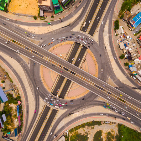 highway interchange: Aerial view of highway interchange of a city,  Top view over the road and highway