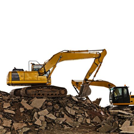Excavator on construction site on a white background Stock Photo