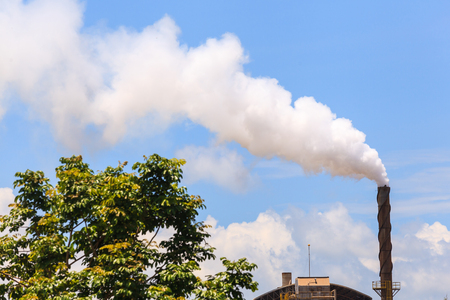 polution: Green factory, Smoke from factory with trees and blue sky