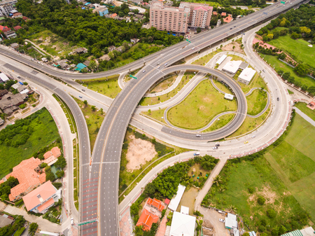 highway traffic: Aerial view of highway interchange of a city, Top view over the road and highway