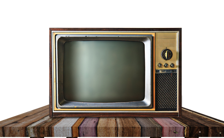 vintage television: Vintage television on wooden table on white background Stock Photo