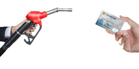 Credit card to make a payment for refueling car on gas station