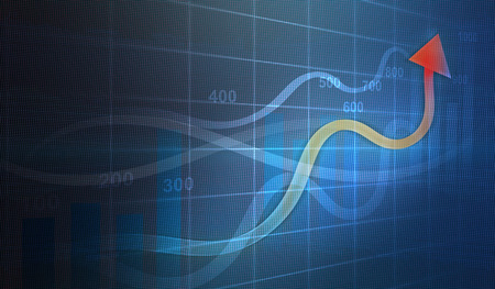 Financial and business graphs, Finance concept on led screen Stock Photo