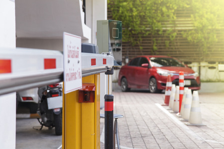 barrier: Vehicle security barrier gate on the car parking