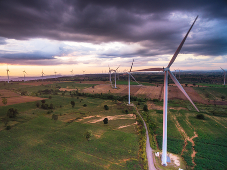 Aerial view of wind turbine power generator farm