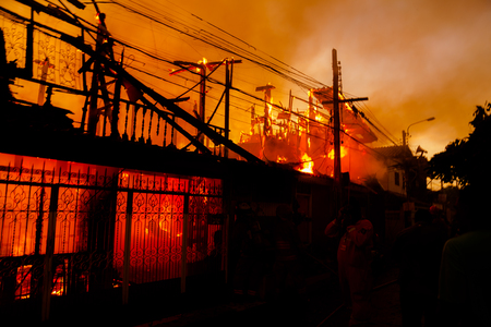 heat loss: The silhouette of Burning house, House on fire