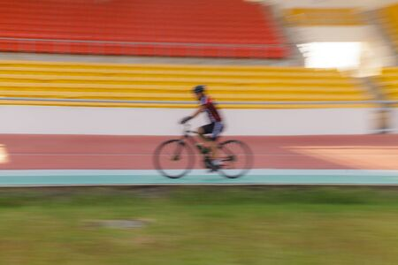 Motion blur of Cycle Racing Athlete Competition Sport Racetrack, Training