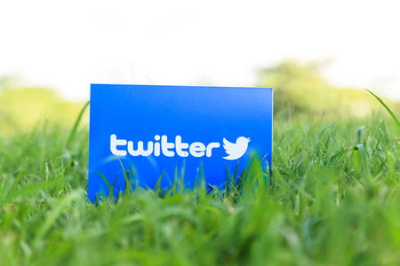 Bangkok, Thailand - June 15, 2017: Twitter logo sign printed on paper on green grass in the park. Twitter is an online social networking popular social media.