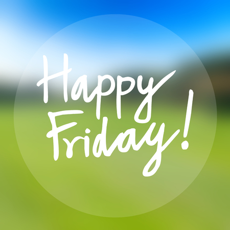 Happy friday word lettering on colorful abstract background
