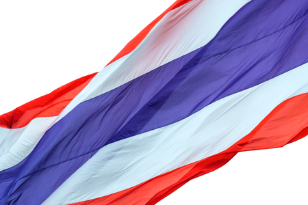 Waving flag of Thailand on white background 스톡 콘텐츠