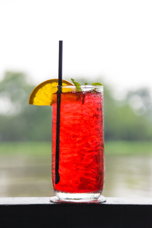Fresh cold strawberry tea with ice