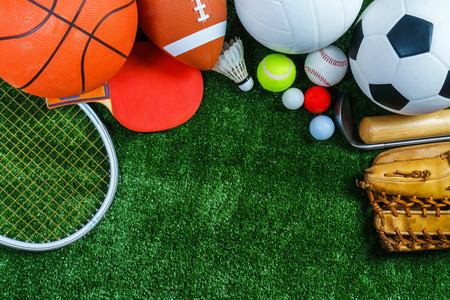 Sports Equipment on green grass, Top view Stock Photo - 92757329