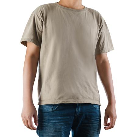 Man wearing blank t-shirt on white background