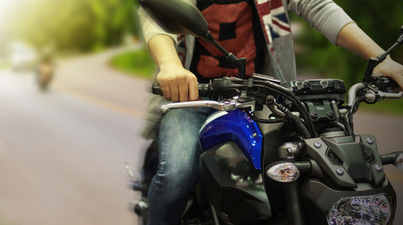 Close up of a high power driving a motorcycle Stock Photo